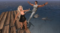 Oh! Crappp! (antoniohunter55) Tags: signature gianni maitreya bento catwa secondlife sl shark aap good swim pose pier ocean sea nomatch hair greatwhite nopast re revox explorer watch e