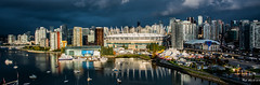 2019 - Vancouver - October Sunrise (Ted's photos - Returns late December) Tags: 2019 bc britishcolumbia canada cropped nikon nikond750 nikonfx tedmcgrath tedsphotos vignetting wideangle widescreen falsecreekeast falsecreek eastfalsecreek boats water bcplace bcplacestadium vancouverbc vancouvercity cityofvancouver rogersarena reflection waterreflection cirquedusoleil tents cityview buildings highrise grandchapiteauatconcordpacificplace grandchapiteau cirquedusoleilgrandchapiteau cirquedusoleilluziaatgrandchapiteauatconcordpacificplace cirquedusoleilvancouver vancouvercirquedusoleil threateningsky darksky stadium arena cans2s sunrise
