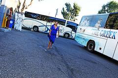 THE GREEK (kirstiecat) Tags: greek woman mybigfatgreekwedding fira santorini greekislands bluedress summer canon street emotional emotions europe