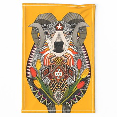 Aries ram saffron tea towel (Scrummy Things) Tags: sharonturner scrummy illustration ram sheep animal aries star starsign zodiac tulips flowers spoonflower teatowel saffron