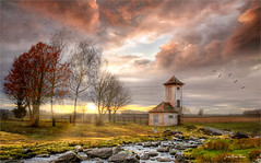 Power tower (Jean-Michel Priaux) Tags: nature paysage landscape tower alsace france elsenheim sunset wet sky cloud tree trees lonesome lonely alone paint painting priaux