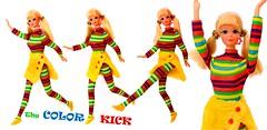 The COLOR KICK! (ModBarbieLover) Tags: 1971 mod doll pj mattel color fashion vintage kick stripes barbie skirt catsuit