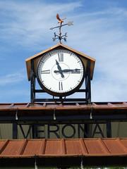In fair Verona where we lay our scene... (e r j k . a m e r j k a) Tags: pennsylvania verona park clock sign weathervane sky pa28 alleghenyvalley erjk