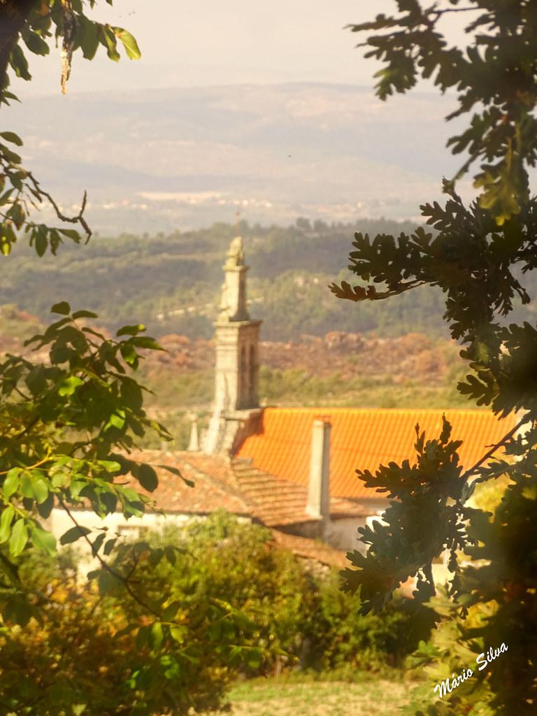 Águas Frias (Chaves) - ... a torre sineira da igreja matriz, por entre a folhagem ...