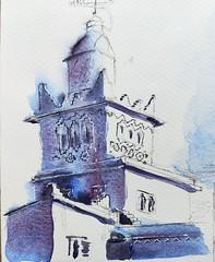 Le phare de Sdi Ifni (mog gom) Tags: sidi ifni maroc phare blue blau azul aquarelle watercolour watercolor urbansketcher sketch croquis dessin lighthouse leuchturm faro