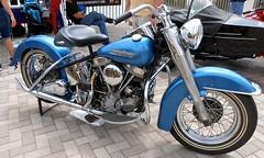 Blue Harley -- Riding Into History -- May, 2019 (Zoom Lens) Tags: ridingintohistory bike motorcycle antiqueandvintagemotorcycles motorcycleshow motorcycles bikes harleydavidson worldgolfhalloffame staugustinefl may2019 bikeshow