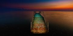 Bioluminescent Acid Jazz Jetty (p.g604) Tags: greece zante seascape beach sunrise dawn jetty bioluminescent sea colours acid horizon pebbles hues tavern zakynthos blueorange ionian bousoulas pxpc27anovasilikos jazz