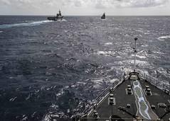 190801-N-WI365-1028 (SurfaceWarriors) Tags: photoex js uss ussashland ussgreenbay jsise jskunisaki formation helicopter destroyer lsd48 lpd20 ddh182 lst 4003 jmsdf coralsea