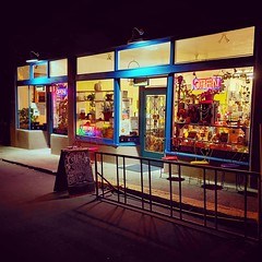 Javalina Coffee House (Robert_Brown [bracketed]) Tags: robertbrown photography photographer photo color night neon javalina coffeehouse restaurant silvercity newmexico southwest historic downtown instagram cellphone samsungs10 samsung s10 squareformat colorful bright saturatedcolors