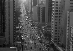 [ Avenue ] (Marcos Jerlich) Tags: avenue paulista street buildings architecture cars bus people pov urban canyon metropolitan downtown city contrast light bw blackandwhite bnw monochrome mono saopaulo october brasil américadosul perspective canon canont5i canon700d efs1855mm marcosjerlich