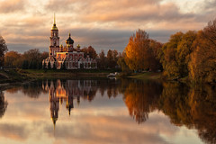 Staraya Russa (gubanov77) Tags: starayarussa russia autumn october sunrise reflection water polistriver church стараярусса travelphotography travel landscape