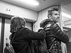 Back to Streets (day 34) (Spotmatix) Tags: 20mm belgium brussels camera effects lens monochrome omdem10ii olympus places primes sncb street streetphotography trains transports