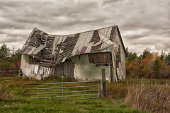 Nearing The End (Lindaw9) Tags: barn autumn leaves trees gate fence post sky clouds grass