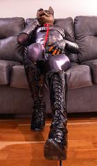 DSC06203 (Kory / Leo Nardo) Tags: rubberdawg dawg pup pupplay pupleo rubber mask lycra spandex unitard bodysuit tights nylon heels kneehigh boots lace collar leash dobie doberman dobbie gloves tail leohex crossdress cd