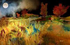 Autumn Moon (Ladmilla) Tags: sl secondlife nature landscape trees grass moon sky night autumn bridge water seasons texturized textured