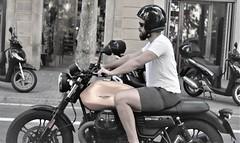 Motorcyclist (thomasgorman1) Tags: spain rider motorcyclist helmet biker barcelona motorcycle nikon street road city urban traffic motorcycles cyclist motorbike monochrome streetphotos man streetshots sunglasses beard