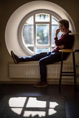 Mikael, Nordiska museet, September 17, 2019 (Ulf Bodin) Tags: portrait sverige phone window canonrf85mmf12lusm speaking sweden nordiskamuseet stockholm djurgården canoneosr mikael indoor stockholmslän