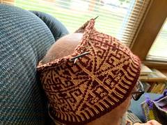 Catherine's latest hat project on Ali's bald head! Photo by CRudin (ali eminov) Tags: wayne nebraska clothing hats handknithats knitting ali