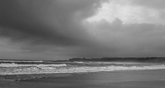 Moody Yorkshire Sky (daveseargeant) Tags: whitby north yorkshire sandsend monochrome coast coastal seaside sea beach waves moody sky blackwhite black white cloud clouds nikon df