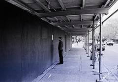 Man staring (Nun Nicer Artist) Tags: manhattan monochrome bnw blackandwhite streetphotography travel 35mm analog citylife nunnicer newyork people brooklyn lavender analogfilm art artphotography