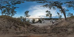 Fall Morning in the Dunes at Sandbanks Provincial Park, Prince Edward County, ON (interactive 360x180  pano) (auggie w) Tags: beach lake dunes provincialpark wine fall sphere 360 panorama vr virtualreality sand tree morning sunrise october