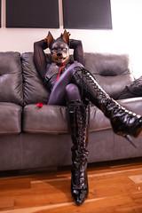 DSC06195 (Kory / Leo Nardo) Tags: rubberdawg dawg pup pupplay pupleo rubber mask lycra spandex unitard bodysuit tights nylon heels kneehigh boots lace collar leash dobie doberman dobbie gloves tail leohex crossdress cd