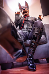 DSC05572-2 (Kory / Leo Nardo) Tags: rubberdawg dawg pup pupplay pupleo rubber mask lycra spandex unitard bodysuit tights nylon heels kneehigh boots lace collar leash dobie doberman dobbie gloves tail leohex crossdress cd