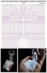 "ORIGAMI - NEWSPAPER/ ""An origamist's worst nightmare"" CP (Neelesh K) Tags: origami artist nightmare frustration man square sheet boxpleating neelesh k newspaper news reading single original"