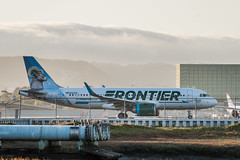 frontier holds for takeoff to denver (pbo31) Tags: bayarea california nikon d810 color october 2019 boury pbo31 autumn sanfranciscointernational sfo sanmateocounty airport airline aviation plane travel flight millbrae frontier sunset