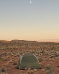 Moonset (magnetic_red) Tags: tent camping remote scenic desert nevada nopeople moon full sunrise americanwest publiclands goldbuttenationalmonument