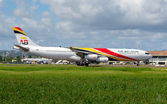 Welcome (Willem GRANNAVEL) Tags: a340 a343 air belgium landing martinique 1st new schedule tourism airbus 340 tfff airport