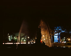 Brooklyn lights at night: Bailey Fountain (GPhace) Tags: 120mm 2019 brooklyn ektar100 filmphotography kodak longexposure mamiya mediumformat nyc newyorkcity rb67pros shootfilm carlights filmgrain flushingave headlights nightphotography nightshots streetlights taillights tripod