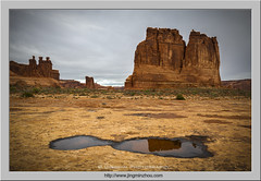 Courthouse Tower and Three Gossips (Virtual Reality in film) Tags: archesnationalpark sandstone courthousetowers threegossips puddle reflection utah morning