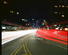 Brooklyn lights at night (GPhace) Tags: 120mm 2019 brooklyn ektar100 filmphotography kodak longexposure mamiya mediumformat nyc newyorkcity rb67pros shootfilm carlights filmgrain flushingave headlights nightphotography nightshots streetlights taillights tripod
