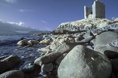 Haunted castle (IR) (Sean Hartwell Photography) Tags: minard castle ruin kerry ireland infrared ir beach shore sea dingle peninsula