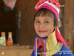 2015-11c Kayan Lahwi Burma 2019 (12) (Matt Hahnewald) Tags: matthahnewaldphotography facingtheworld qualityphoto people head neck face expression lookingcamera tribal costume headscarf consensual conceptual travel tourism working beauty exotic ethnic minority local rural traditional touristattraction village panpet kayahstate myanmar burma asia asian person female adult mature woman women nikond610 nikkorafs85mmf18g 85mm 4x3ratio resized 1200x900pixels horizontal portrait closeup seveneighthsview indoor sidewaysglance colour posing authentic beautiful sitting giraffewoman brassrings brasscoils kayan lahwi longneck karen shop saleswoman halflength smilingmouthclosed lipstick bangs fringe padaung