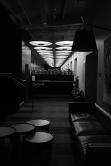 Oxford (Leon Sammartino) Tags: mono chrome monochrome negro black blianco white sydney nsw australia night architecture modern seats light fujifilm xe3 23mm f2 prime low no flash