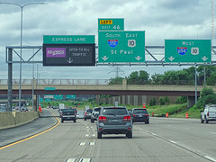 I-35E & I-694 Junction, 17 July 2019 (photography.by.ROEVER) Tags: minnesota 2019 july july2019 vacation roadtrip 2019vacation 2019roadtrip minnesota2019roadtrip minnesota2019vacation drive driving driver driverpic ontheroad road highway ramseycounty vadnaisheights twincities stpaul i35e i694 interchange junction exit ramp exit46 southboundi35e westboundi694 interstate35e interstate694 interstate freeway lanes expresslane mnpass sign overheadsign bgs biggreensign usa