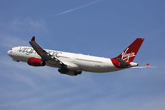G-VRAY, Airbus A330-300, Virgin Atlantic, London Heathrow (ColinParker777) Tags: airbus a330 a333 a330300 aircraft airliner airplane plane aeroplane fly flying flight departure takeoff climb winglets rolls royce trent 700 lady flag vir vs virgin atlantic airways airlines air london heathrow lhr egll uk united kingdom great britain gb england international airport blue sky skies cloud canon dslr photo spotting spotter planespotting 5dsr 5d 100400 l lens zoom telephoto pro gvray contrail