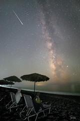 STAR BATHING! (macdad1948) Tags: beach caldera santorini sandcliffs stars akritiri starscapes astro milkyway perissa meteor greece