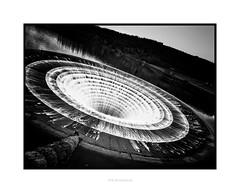 The Plughole (RichardK2019) Tags: blackandwhite byn monochrome derbyshire wideangle tilt hopevalley ladybowerreservoir snapseed zuiko714mmf28 olympusem1mk2 luminar3