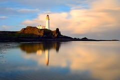 Morning light at Turnberry Lighthouse and Castle (iancowe) Tags: northernlighthouseboard turnberry turnberrylighthouse stevenson nlb sunrise castle ruin firth clyde trump golf course long exposure sea coastline ailsacraig firthofclyde maidens reflection reflections