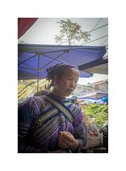 Woman at market (jen 3163) Tags: bacha vietnam woman market expressive beauty hmong tribal flowerhmong