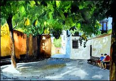 Calle Real (Dr Graham Beards) Tags: albaicin andalucia alhambra granada garden generalife autumn horsechestnuts watercolor watercolour spain