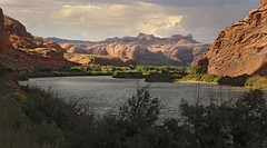 Colorado River Canyon near Moab (Ron Wolf) Tags: chinleformation earthscience geology geomorphology jurassic kayentaformation mesozoic navajosandstone triassic wingatesandstone canyon cliff dome erosion landscape nature river sandbar utah