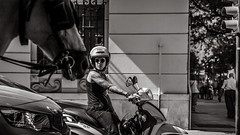 unexpected road user (Gerard Koopen) Tags: spain españa málaga road trafficlight waiting woman motorbike horse car unexpected street streetlife dailylife streetphotography blackandwhite monochrome noir blackandwhiteonly sony sonyalpha a7iii zeiss batis 85mm 2019 gerardkoopen gerardkoopenphotography