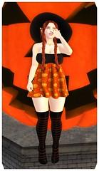 halloween set witchie 2019 (Morrigan Braddyll) Tags: witch bruja halloween holiday pumpkin escoba broom second life secondlife maitreya genus elf orange blanck negro naranja fiesta free cheap marketplace tiny things tinythings group gift teleporthub event fenix