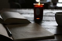 :: a place where time peacefully accrued :: ({april h}) Tags: table quietude candelight writing reading light silence still life morning rituals