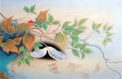 Chinese smilax and threeleaf akebia (Japanese Flower and Bird Art) Tags: flower chinese smilax china smilacaceae threeleaf akebia trifoliata lardizabalaceae kojin kudo modern woodblock print japan japanese art readercollection