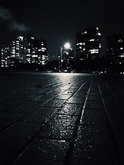 Rainy city night (World-viewer) Tags: illuminated glow nightshot supershot wet blackandwhite bw mono monochrome pavement night city reflections reflection dark moody compelling atmospheric streets street nightlights lamp streetlamp rain rainy skyline vancouver seawalk wander travel explore ngc national geographic evening nice beautiful mbpictures iphone iphone8 iphone8plus plus citypulse citystreets buildings architecture